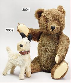 Steiff Terrier, pre-war,    STEIFF Teddy orig, 50s, dark brown, with button, yellow flag, 50 cm, felt,  mohair,