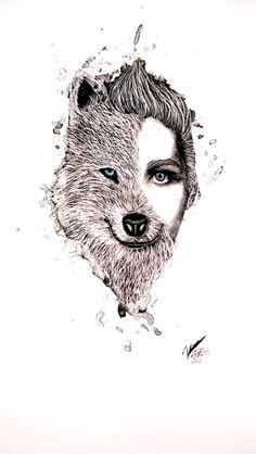 Half And Half human,wolf Human Drawing, Human Art, Human Human, Human Mind, Animal Drawings, Art Drawings, Art Plastic, Self Portrait Art, Hybrid Art