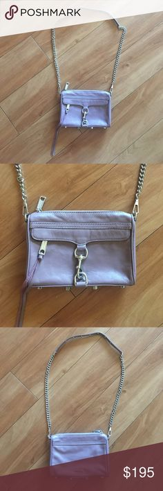 """Rebecca Minkoff Classic M.A.C Crossbody *lightPlum Rebecca Minkoff classic crossbody in plum smoke purple! Condition is LIKE NEW...only worn a couple of times! The color is the perfect neutral purple!The M.A.C. (Morning After Clutch) boasts roomy but compact style, perfect for the vital tidbits you can't live without. The luxury of a Rebecca Minkoff handbag -small enough for your hurried days (or nights) on the town. 11""""W x 2""""D x 8""""H with a 21"""" drop chain strap Genuine leather Custom silver…"""