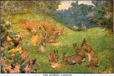 The Bunnies Parlor  Vintage RABBIT by DandDDigitalDelights on Etsy