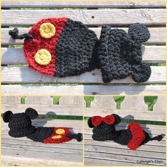 Mickey/Minny Mouse crocheted baby outfit - I've either got to learn to crochet or I need to find a way to knit this!