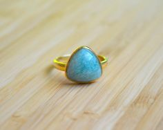 Amazonite 12X12 Trillion Stone Ring Gold Vermeil by DimplesNGuns Gold Rings, Gemstone Rings, 3, Stud Earrings, Gemstones, Etsy, Jewelry, Jewlery, Gems