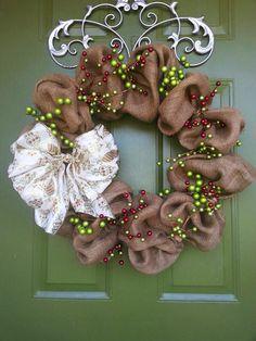 Burlap and Berries Christmas Wreath