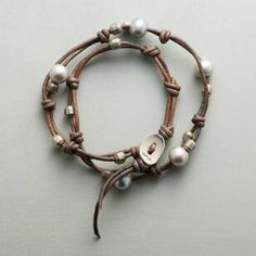 WILLOW BRANCH WRAP BRACELET -- Knotted leather, accented with the soft glow of gray freshwater pearls and the spark of gunmetal beads, wraps around your wrist twice in this handcrafted bracelet by Chan Luu. Fits to wrists. Bracelet Wrap, Bracelet Knots, Beaded Wrap Bracelets, Bracelets For Men, Handmade Bracelets, Beaded Jewelry, Jewelry Bracelets, Crochet Bracelet, Pandora Bracelets