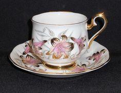 ROYAL ALBERT BONE CHINA CUP & SAUCER SET ~ BOLD PINK W/GOLD FLORAL in Pottery & Glass, Pottery & China, China & Dinnerware, Royal Albert | eBay