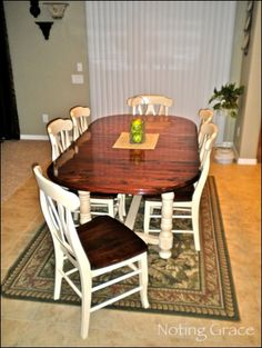 I found this table for a steal on Craigslist, but didn't like the color. Here is how I created a two tone look for this Dining Room Table Makeover. Coffee Table Redo, Farmhouse Style Coffee Table, Coffee Tables, Farmhouse Decor, Refurbished Furniture, Furniture Makeover, Repurposed Furniture, Oak Dining Sets, Furniture Projects