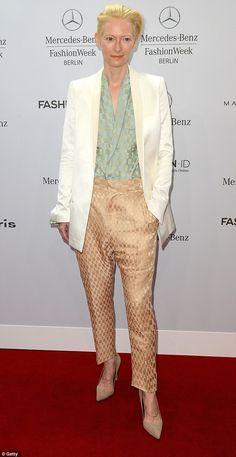 Berlin Fashion Week gets off to stylish start as Tilda Swinton stuns in suit | Mail Online