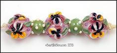 $28  Pansy Set - Handmade Lampwork Glass Beads BASTILLE BLEU - SRA Purple Amber Olive Green Florals Lentils Polkadots