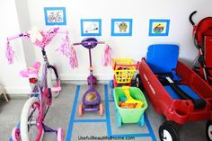 """Parking for bikes, trikes, and wagons in garage from """"Organized Outdoor Play Areas"""""""