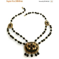 Art Deco Czech Glass Festoon Necklace, Strands of Black Beads, Center... ($167) ❤ liked on Polyvore featuring jewelry, necklaces, vintage glass jewelry, leaf necklace, art deco necklace, beading necklaces and vintage leaf necklace