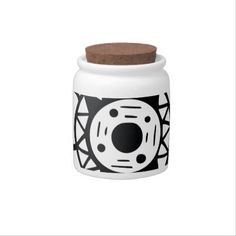Monochrome Black and White Flower Drawing Candy Jars - drawing sketch design graphic draw personalize