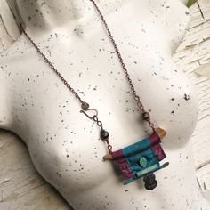 Nomadic Scroll Necklace, Silk Wrapped Antler Necklace with Buddha Amulet, Purple, Turquoise Fiber Art Jewelry, Mixed Media Jewelry, Textile Jewelry, Fabric Jewelry, Metal Jewelry, Jewelry Art, Beaded Jewelry, Jewelry Design, Antler Necklace