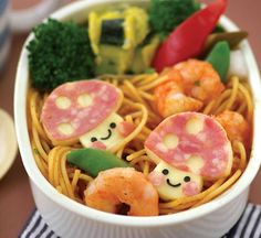 shrimp pasta bento, the mushrooms are made with cheese and salami.  So cute!