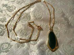 Unique Vintage Antique Green Stone & Goldtone Pendant