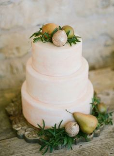 Beautiful Three Tier Rustic Winter Wedding Cake Decorated with Pears.