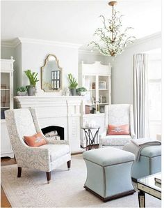 grey, white, pink and blue living room