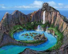 Fantasy Artwork, Fantasy Concept Art, Fantasy Art Landscapes, Landscape Art, Fantasy City, Fantasy Island, Fantasy Places, Fantasy World, Environment Concept Art