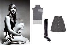 McQ Alexander McQueen sleeveless turtleneck sweater, $207 mytheresa.com KTZ striped cotton knee-high socks, $16 lindelepalais.com Sea striped snap-up skirt, $250 modaoperandi.com
