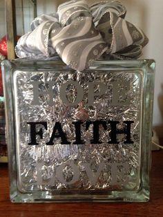 My Hope, Faith and Love Glass Block.