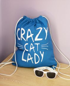 Crazy cat lady Cotton gym sack bag Backpack cotton by BestTshirt, $14.00