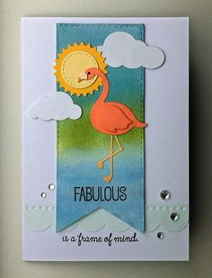 Card critters bird birds flamingo MFT Flamingos Die-namics MFT stitched fishtail banner Die-namics, border from MFT Blueprints 14 Die-namics, sun clouds rhinestone, MFT Tickled Pink #mftstamps  - JKE