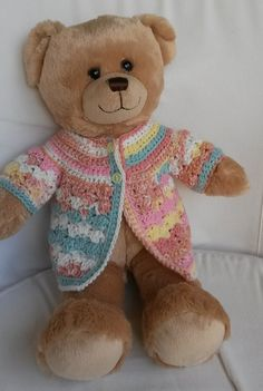 Crochet Bear free pattern for an easy crochet jacket in 2 sizes to fit bear and Teddy Bear Clothes, Baby Doll Clothes, Crochet Doll Clothes, Crochet Dolls, Baby Dolls, Crocheted Toys, Crocheted Animals, Diy Clothes, Crochet Teddy