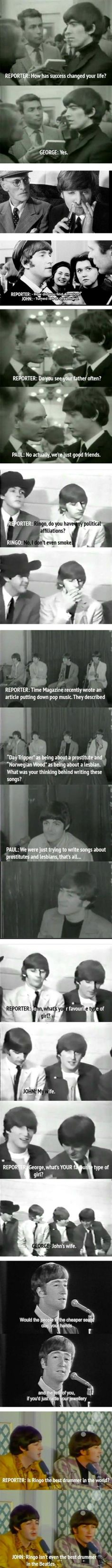 Snarky Beatles interviews, the last one is the best one bahahahaha The  Beatles, Beatles