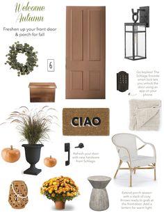 Welcome Autumn - Freshen up your front door & porch for Fall - Paper Parade Co. Front Door Porch, Front Doors, Copper Mailbox, Magnolia Paint, Exterior Light Fixtures, Fountain Grass, Front Door Handles, Spring Flowering Bulbs, Autumn