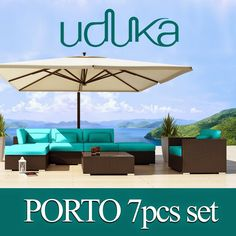Uduka Outdoor Sectional Patio Furniture Espresso Brown Wicker Sofa Set Porto 7 Turquoise All Weather Couch This stunning luxurious furniture will bring contemporary elegance for your garden. The Porto 7 sofa set may be set up in any manner you would like to form a wonderful environment for relaxing and entertaining.