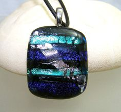 Blue Green Silver  Black DICHROIC by LeslieDanaDesigns on Etsy, $25.00