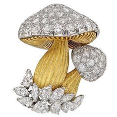 Diamond Gold Platinum Mushroom Brooch