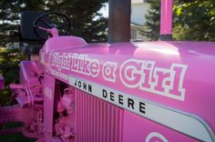 Pink John Deere-Fight Like a Girl Breast Cancer Awareness♥ Antique Tractors, Vintage Tractors, Old Tractors, John Deere Tractors, Farmall Tractors, Pink Love, Pretty In Pink, Pink Tractor, Everything Pink