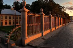 The famous wrought-iron fence of the Summer Garden and the Summer Palace of Peter the Great in Saint-Petersburg, Russia
