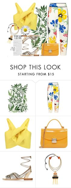 """""""Fresh glow"""" by fanfan-zheng ❤ liked on Polyvore featuring Victoria, Victoria Beckham, Delpozo, Furla, Topshop, Lizzie Fortunato, tropicalprints and hottropics"""
