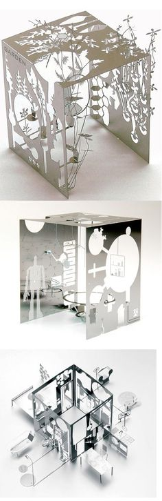 Mikro (garden, bath, world)  by Sam Buxton :: The intricate environments are folded out from a flat sheet of stainless steel