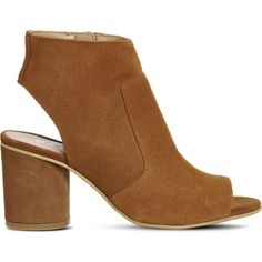 OFFICE Marley suede peep-toe shoe boots ($105) ❤ liked on Polyvore featuring shoes, boots, ankle booties, tan suede, suede peep toe booties, suede boots, block heel booties, high heel booties and suede booties