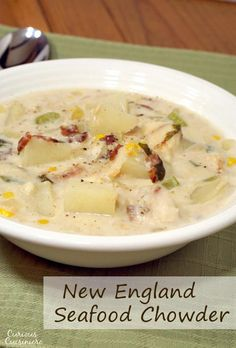 This recipe for New England Seafood Chowder creates a versatile and tasty soup perfect for a cold winter day. Chowder Soup, Chowder Recipes, Chili Recipes, Fish Recipes, Seafood Recipes, Soup Recipes, Cooking Recipes, Bisque Soup, Gourmet