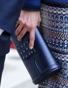 Queen Letizia 24 Mar 2015 - State visit to France. Felipe Varela blue leather clutch with Swarovski crystals.