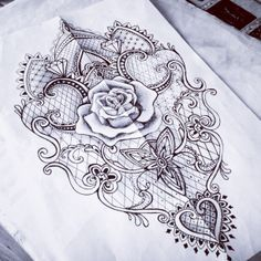 Lace rose baroque mantra tattoo sketch woman