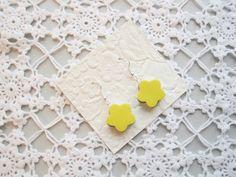 Earrings yellow liquorice allsorts flower polymer  from poppyshome by DaWanda.com