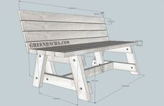 Ideas For Garden Bench Pallet Outdoor Furniture - Modern Outdoor Furniture Plans, Pallet Furniture, Furniture Ideas, Bench Drawing, Wood Bench Plans, Shabby Chic Table And Chairs, Accent Chairs For Living Room, Upholstered Chairs, Creative