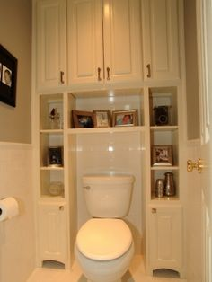 Great Bathroom Storage Solutions Built-ins surrounding toilet, to save usually wasted space. Great for small bathrooms/half baths.Built-ins surrounding toilet, to save usually wasted space. Great for small bathrooms/half baths. Bathroom Storage Solutions, Closet Solutions, Traditional Bathroom, Traditional Toilets, Traditional Kitchens, Home Projects, Home Remodeling, Bathroom Renovations, Remodeling Contractors