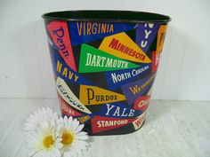 Vintage College Pennants Lithograph Metal Waste by DivineOrders