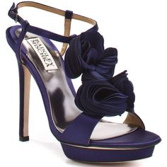 Badgley Mischka Randee - Purple Satin (10.295 RUB) ❤ liked on Polyvore featuring shoes, sandals, heels, zapatos, high heels, badgley mischka, platform, open toe, formal and stiletto heels
