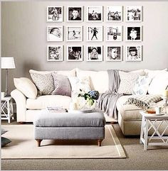 Grey And Taupe Living Room With Photo Display