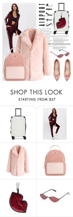 """Get The Look. Airport Style"" by artbyjwp ❤ liked on Polyvore featuring CalPak, Chicwish, Kate Spade, Kendall + Kylie and H&M"