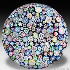"Peter McDougall 2011 close packed millefiori alphabet ""L H Selman"" paperweight"
