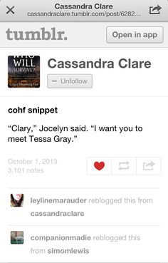 New snippet for CoHF on Cassie's Tumblr OH MY GOSH! OH MY GOSH! YES!!!!