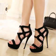 Black Strappy Heels Cheap | Tsaa Heel