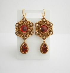Red and gold beadwork earrings with Swarovski by AllushkaSoutache